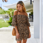 New Leopard Off The Shoulder Dress Women Elegant Slash Neck Summer Dress Female Above Knee Dress Office Lady