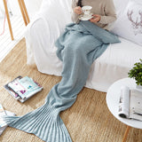 New Mermaid Blanket Handmade Knitted Sleeping Wrap TV Sofa Mermaid Tail Blanket Kids Adult Baby crocheted bag Bedding Throws bag