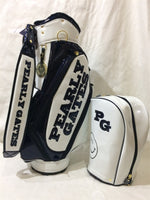 New Pearly Gates Golf Standard Bag PU Leather Golf Caddie Cart Bag With Rain Cover 4 Colors For Man Women