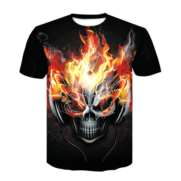 New Skull T Shirt Halloween Men Women 3D Print DJ T-shirt Short Sleeve Oneck Hip-Hop Tees Summer Tops Cool tshirt Custom Clothes