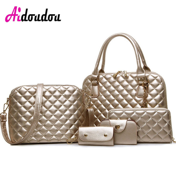 New Woman Handbag PU Leather Shoulder Bags Lady Handbag+ Messenger Bag+ Purse +Card Bag +Key Bag 5 Sets high quality Tote