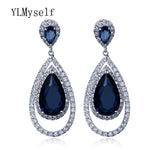 New big Earrings For Party brincos 2019 fashion jewelry Blue Black Clear Green Water Drop stones Large Copper women Earrings