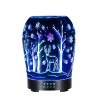 New type 3D snowflake deer night light glass humidifier aromatherapy machine home ultrasonic with colorful transform Lamp