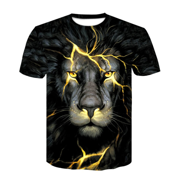 Newest 3D Print Lightning lion Cool T-shirt Men/Women Short Sleeve Summer Tops Tees T shirt Fashion