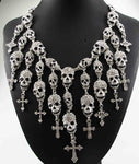 Newest Gorgeous Fashion  Necklace Skeleton skull Cross Jewelry crystal Department Statement Women Choker Necklaces Pendants