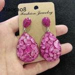 Newest Rose Red Nature Stone Drop Earrings for Women 5Pairs Snakeskin Luxury Statement Earrings Brincos 2019 Woman Earing