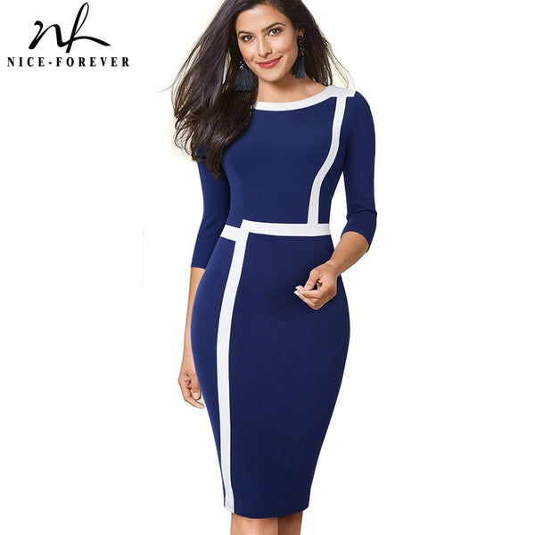 Nice-forever  Vintage Optical Illusion ColorBlock Wear to Work vestidos Business Party Bodycon Women Elegant Office Dress B474