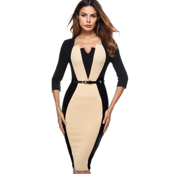 Nice-forever Women Elegant Optical Illusion Patchwork Contrast Belted Vintage Slim Work Office Business Bodycon Dress B405