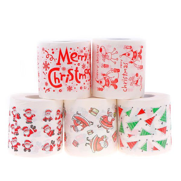 Novelty Roll Toilet Paper For Christmas Decoration Christmas Printing Paper Toilet Tissues Wholesale 5 Colors