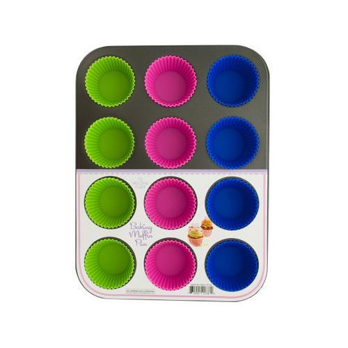 Muffin Baking Pan with Silicone Cups ( Case of 2 )