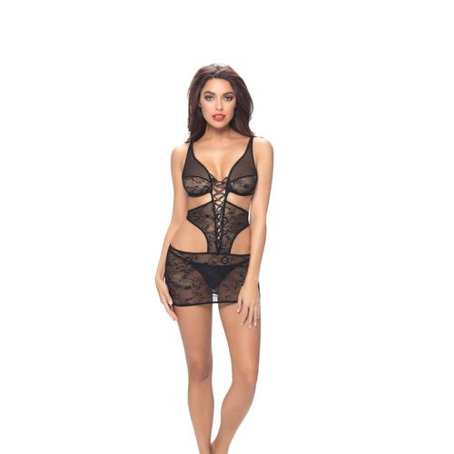 Lace Deep Plunge Babydoll & G-String  - One Size - Black