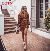 OOTN Ruffle Drawstring Leopard Dress Women V-Neck Puff Sleeve Sexy Mini Dress 2019 Fashion Vintage Animal Print Ladies Dresses
