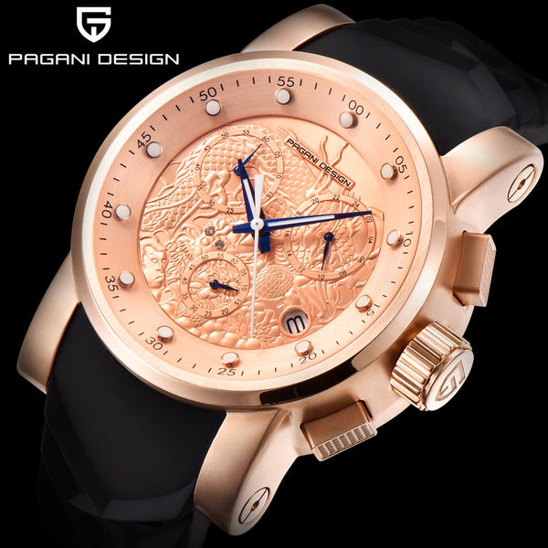 PAGANI DESIGN Brand Men Watches Luxury Chinese Dragon Calendar Relogio New Waterproof Silicone Strap Fashion Quartz Simple Watch