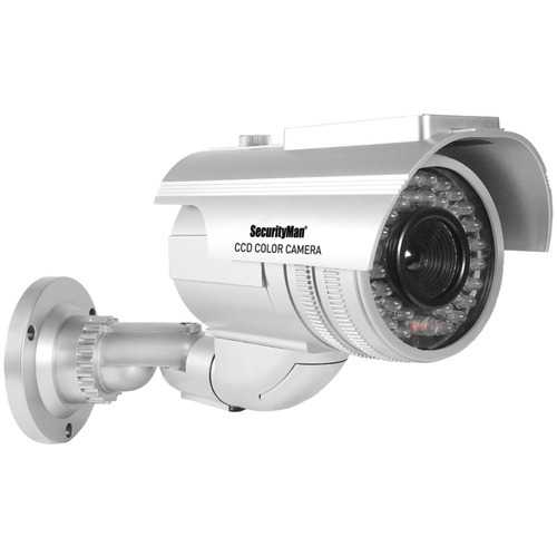SecurityMan(R) ROBUSTDUMMY Robust Solar-Powered Indoor/Outdoor Dummy Bullet Camera with LED