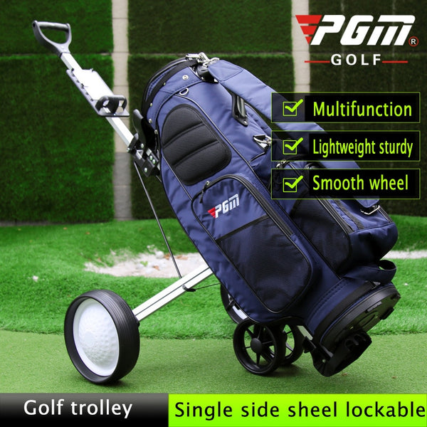 PGM Foldable Golf Trolley Cart Aluminium Alloy,with scorecard Cover Holder,Push Pull Golf Cart with Brake Golf Accessories