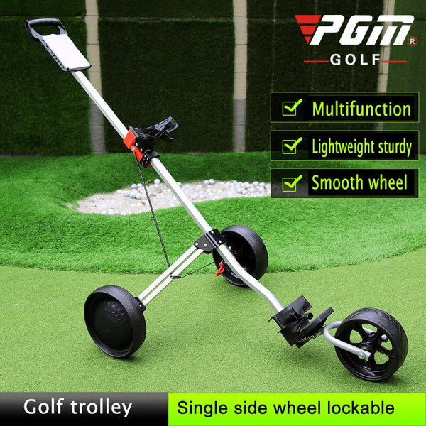 PGM Golf Trolley Cart with Brake Golf Cart 3-wheels Push Pull Golf Cart, Aluminium Alloy Foldable Trolley Golf Accessories