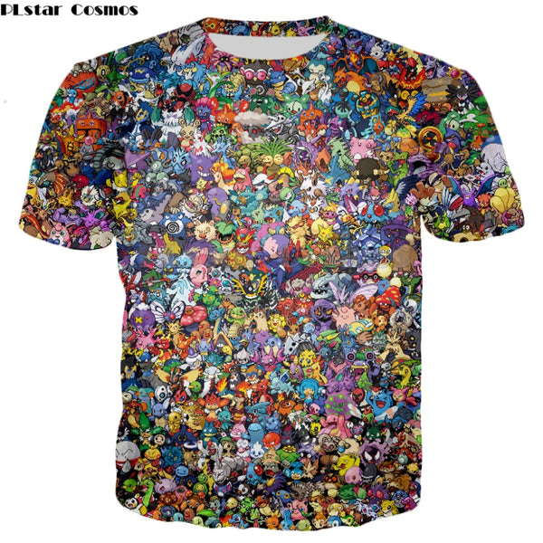 PLstar Cosmos 2018 summer New Harajuku style T-shirt 90s Cartoon Pokemon 3d Print Men's Women's Casual Cool t shirt YT-139