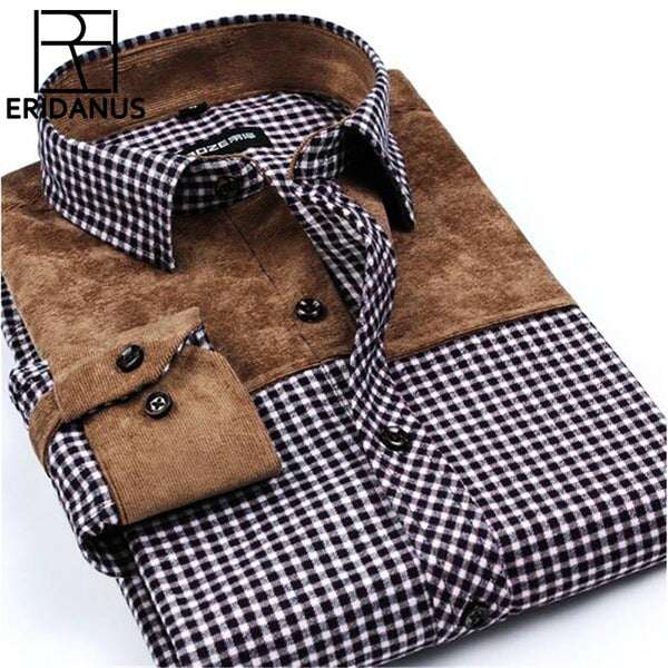 Patchwork Men Shirts Social Long Sleeve Plaid Brand Mens Fashion Brushed Flannel Slim Fit Shirt Formal Dress Shirts Chemise X502