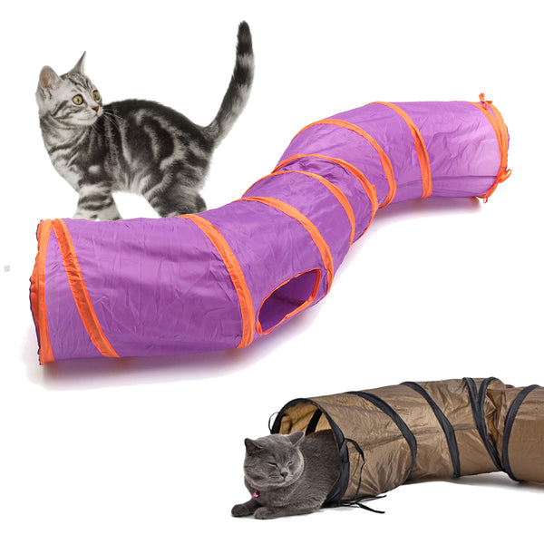 Pet Funny Toy Foldable S Shape Pet Cat Tunnel Play Tubes Balls Crinkle design House Toys Puppy Rabbit Play Dog Tunnel Tubes