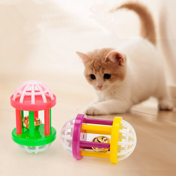 Plastic Kitten Cat Toy with Dumbbell Jingle Cute Pet Dog Cat Training Sound Toy Funny Small Pet Scratching Toy