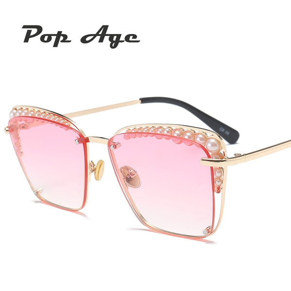 Pop Age Luxury Italy Pearl Square Sunglasses Women Retro Brand Designer Pink Sun Glasses For Female Ladies Eyeglasses Lunettes