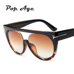 Pop Age Wholesale New High quality Oversized Cat Eye Sunglasses Women Men Italy Brand Designer Round Eyeglasses (A lot 3 Pieces)