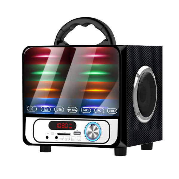 Portable Loudspeaker Outdoor Subwoofer Wireless Bluetooth Speaker Mini Home Radio TF AUX USB Colorful Lights Hifi Speakers A18