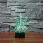 Pot Leaf 3D Illusion Lamp Cananbis Weed Optical Visual Night Light