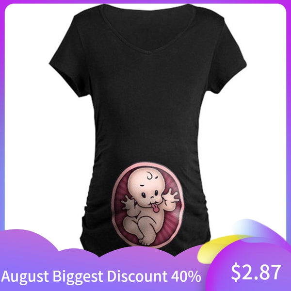 Pregnancy T-shirt Maternity Cute Baby Print O-Neck Short Sleeve T-shirt Pregnant Tops Camisetas De Lactancia Maternity T Shirt