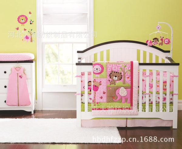 Promotion! 4PCS baby crib bedding set quilt bed around bumper mattress cover,sheet for girls (bumper+duvet+bed cover+bed skirt)