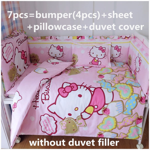 Promotion! 6/7PCS Cartoon Baby cot bedding set girl crib bedding set 100% cotton baby bedclothes,120*60/120*70cm