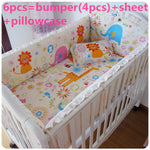 Promotion! 6PCS Bedding Set,Crib Sets for Babies,Lovely Design Baby Cot Set (bumper+sheet+pillow cover)