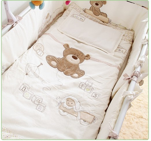 Promotion! 7PCS Embroidery Cotton Baby Bedding Set Cartoon Crib Bedding Detachable Cot Quilt ,(bumpers+duvet+sheet+pillow)