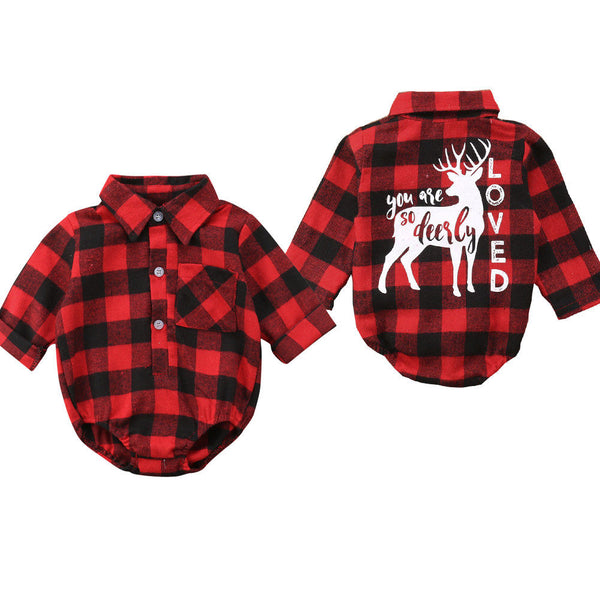 Pudcoco Baby Girls And Boys Unisex Clothes Christmas Plaid Rompers Newborn Baby 0-18 Monthes Fits One Piece Suit Cartoon Elk New