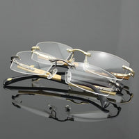 Pure Titanium Rimless Reading Glasses Wooden Full Rim unisex Retro Readers +50 +75 +100 +125 +150 +175 +200 +225 +250 +275 +300