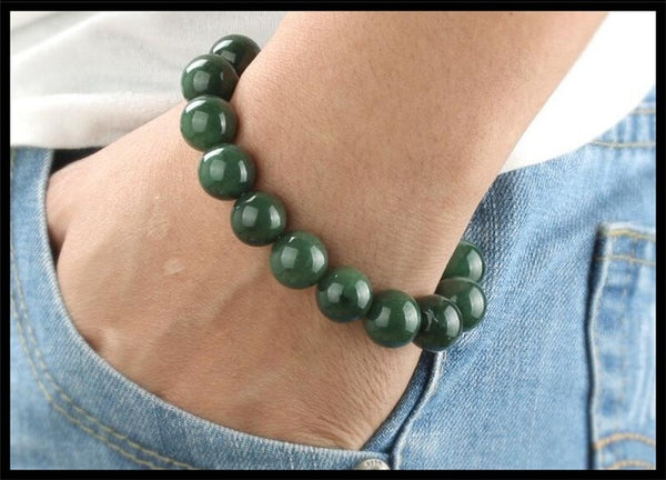 Pure manual weaving dark green 10 mm beads hand string charm men and women lovers style bracelet