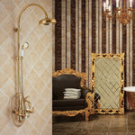 Ql2001 All Copper Golden Swan Shower Set, Hot And Cold Water Three Function Bathroom Shower Set Swan Golden Unique Desgin