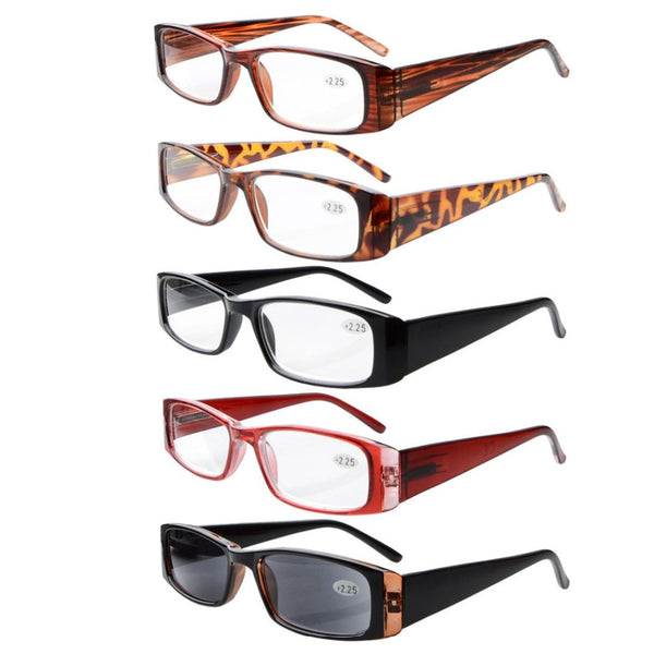 R006 Eyekepper 5-Pack Spring Hinges Rectangular Reading Glasses & Reading Sunglasses Sun Readers +0.00---+4.00