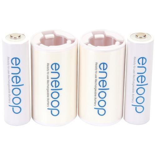 Panasonic 2 Aa Eneloop Batteries & 2 Spacers Kit (c Size) (pack of 1 Ea)