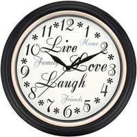 "Westclox 12"" Round Live Love Laugh Message Clock (pack of 1 Ea)"