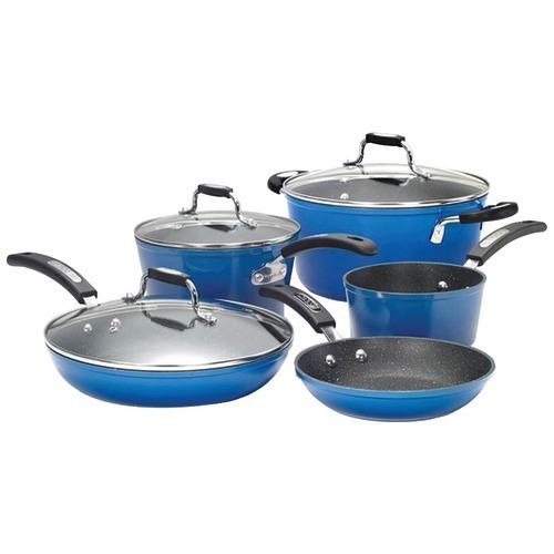 The Rock By Starfrit The Rock By Starfrit 8-piece Cookware Set With Bakelite Handles (blue) (pack of 1 Ea)