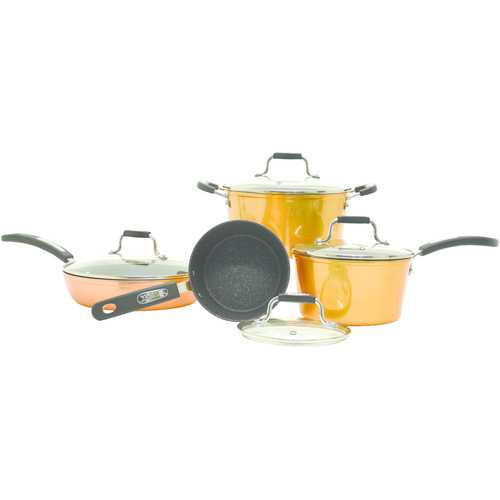 Starfrit The Rock By Starfrit 8-piece Copper Cookware Set With Bakelite Handles (pack of 1 Ea)