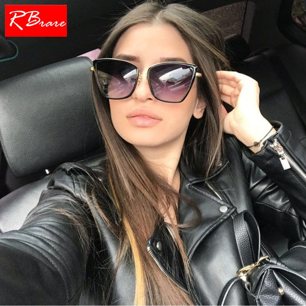 RBRARE Alloy Cat Eye Sunglasses Women HD Gradient Lens Sun Glasses Vintage Metal Oculos Feminino Travel Driving Gafas De Sol