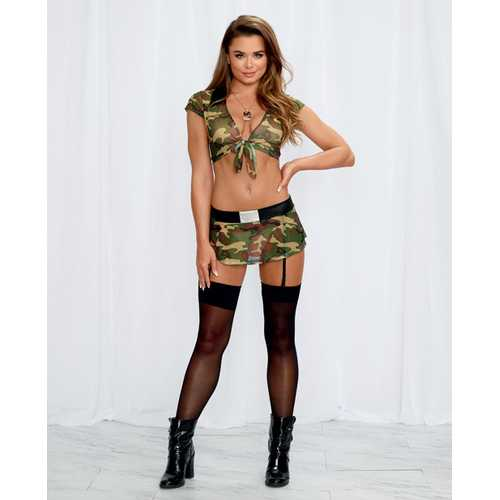 2 pc Stretch Mesh Crop Top & Mini Skirt w/Attached & Adjustable Garters Camouflage O/S