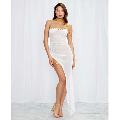 3 pc Stretch Mesh Gown w/Gold Lame One Shoulder Strap, Choker & Leg Garter White/Gold O/S