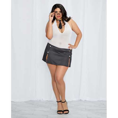 3 pc Stretch Mesh Chemise w/Pinstriped Skirt, Tie & Glasses Black/White QN