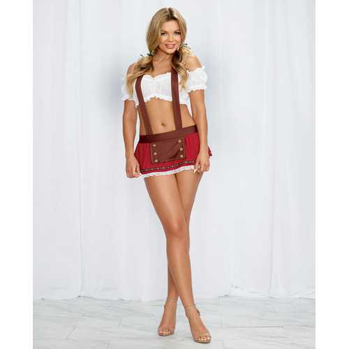 2 pc Stretch Mesh Top, Mini Skirt w/Attached Suspendes & Hair Ribbons Red/White O/S