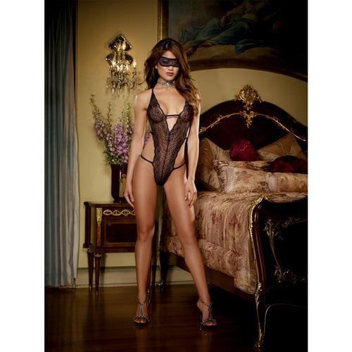 Stretch Lace Halter Teddy w/Strappy Back Panty Detail & Lace Eye Mask Black O/S