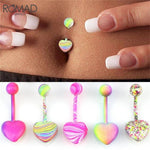 ROMAD 10Pcs/Set Heart Stainless steel Belly Button Rings Belly Bar Navel Piercing Jewelry Women Jewelry Navel Piercing Belly R4