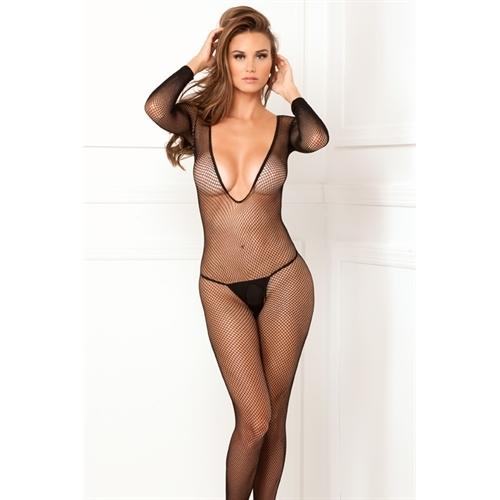 Deep v Long Sleeve Fishnet Bodystocking - One Size - Black